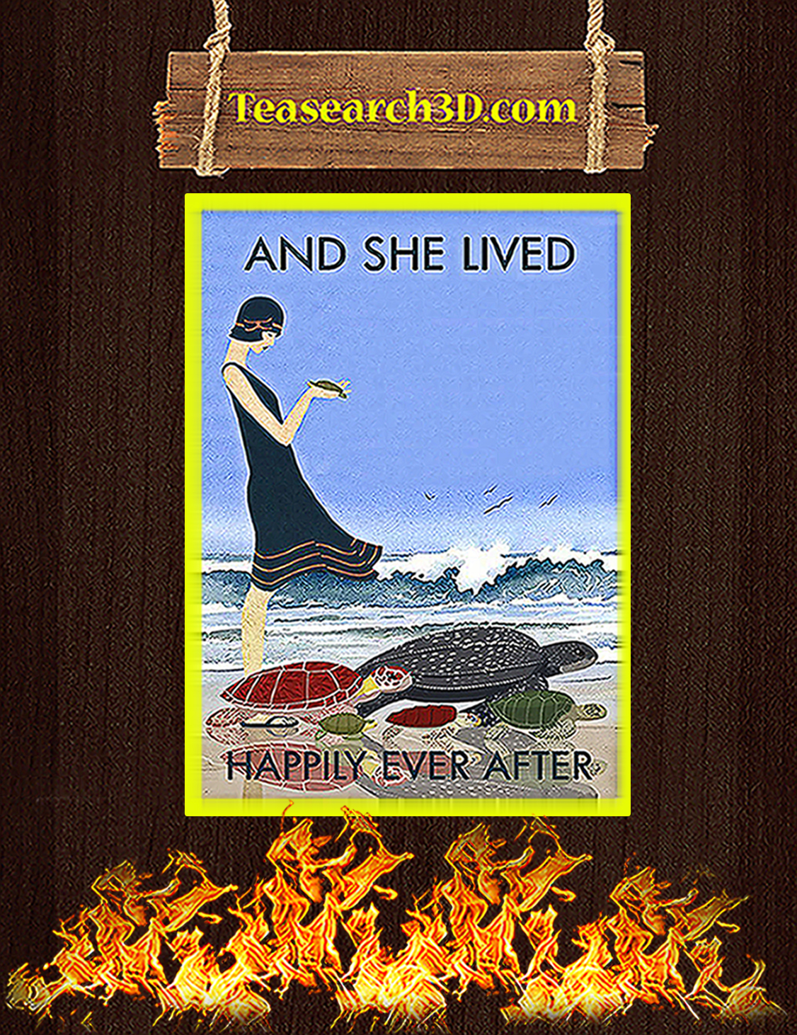 Beach and turtles and she lived happily ever after poster A3