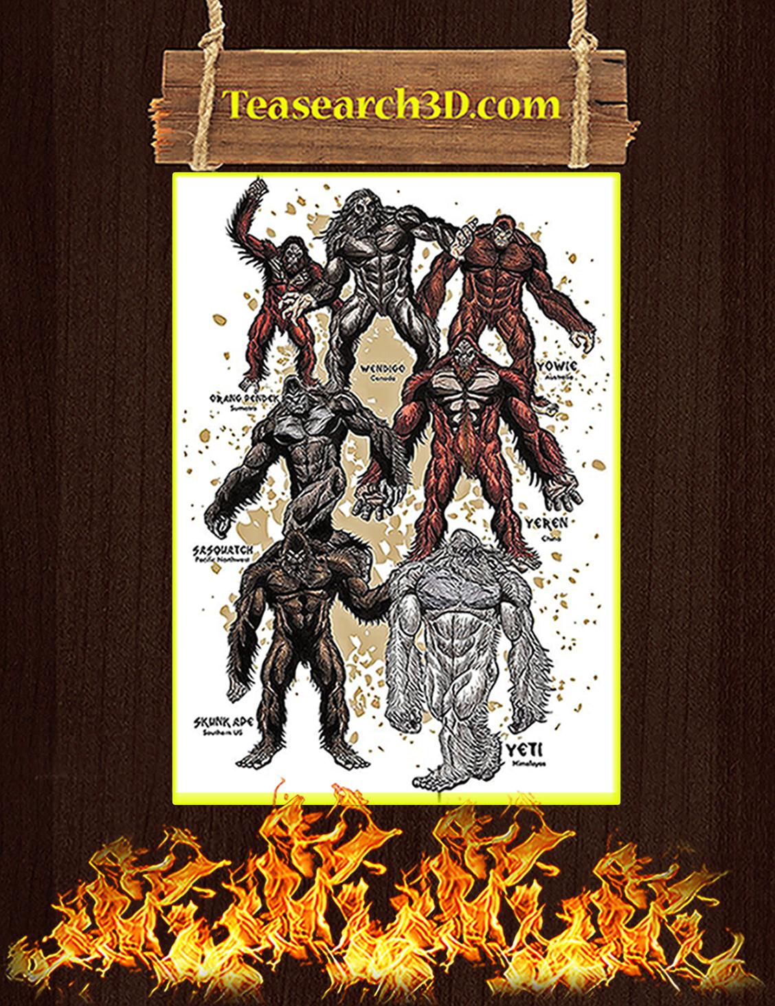 Bigfoot orang pendek wendigo yowie poster A3