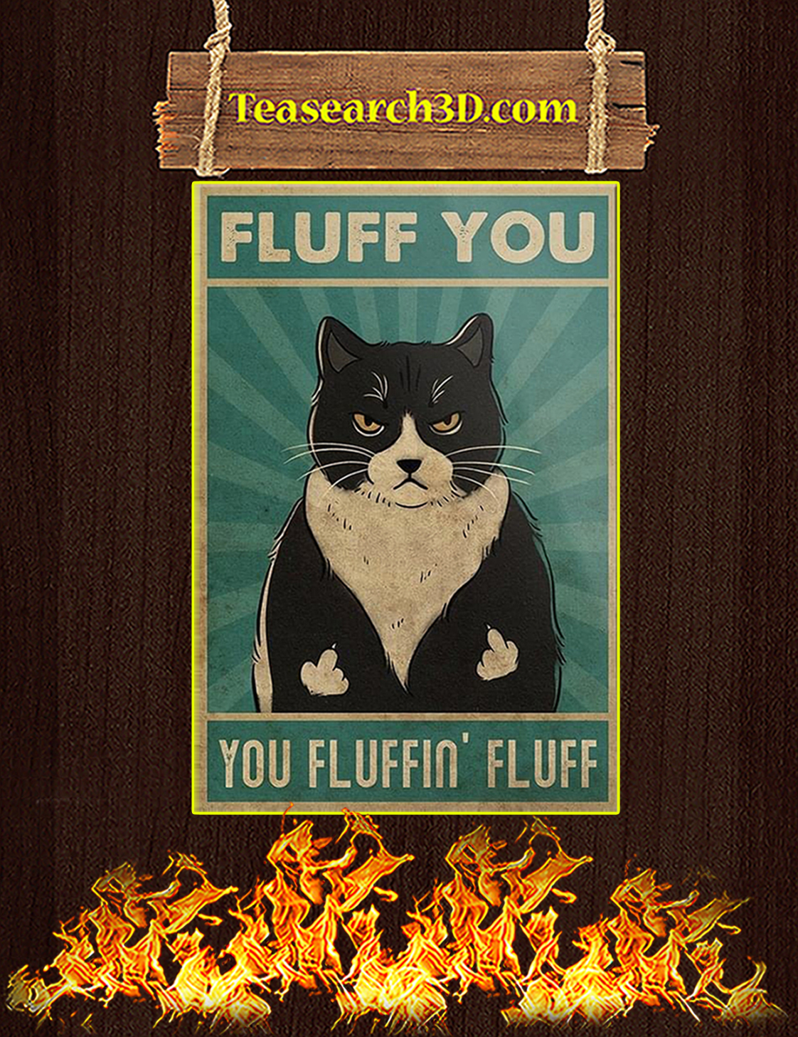 Black cat fluff you you fluffin' fluff canvas prints large