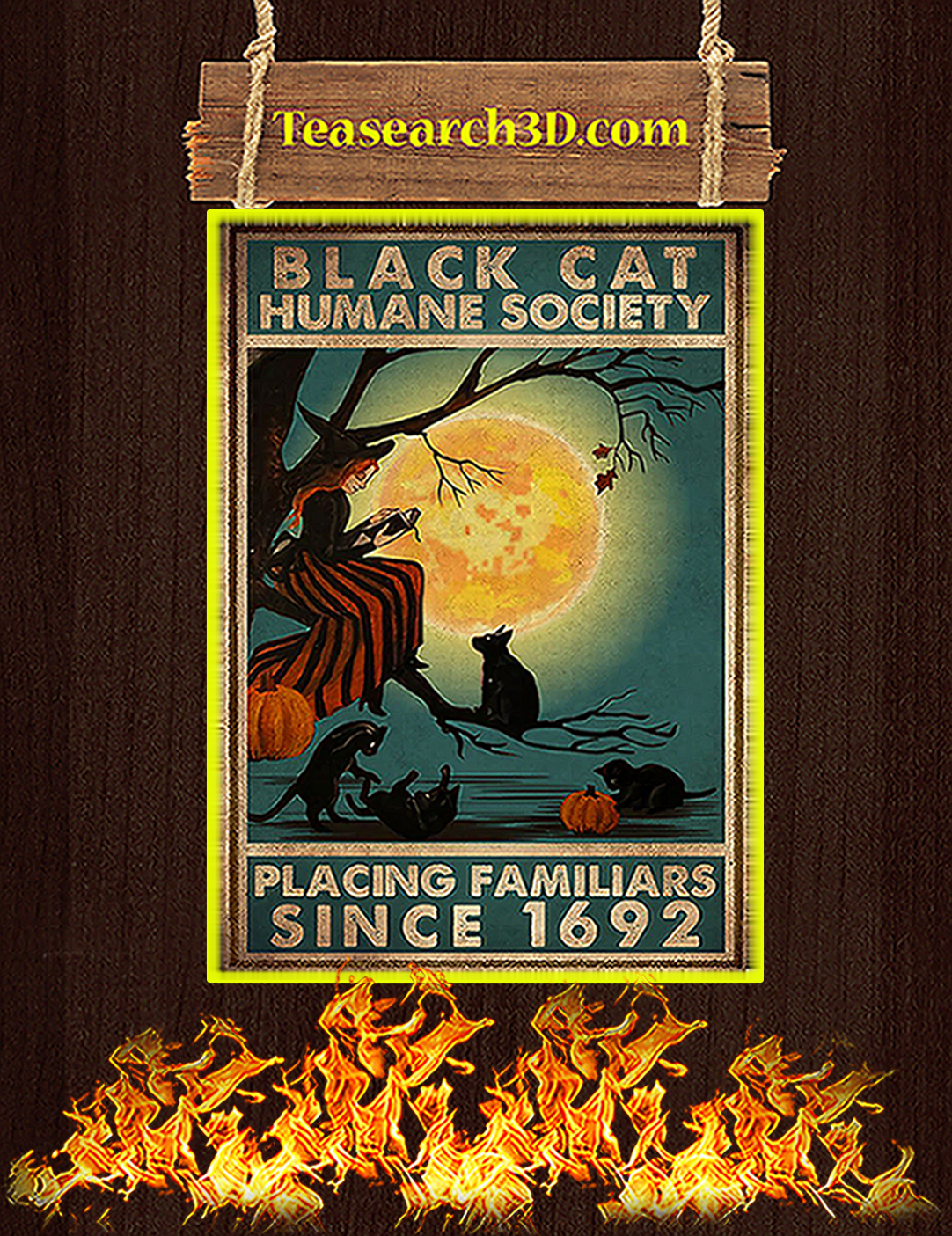 Black cat humane society placing familiars since 1962 poster A2