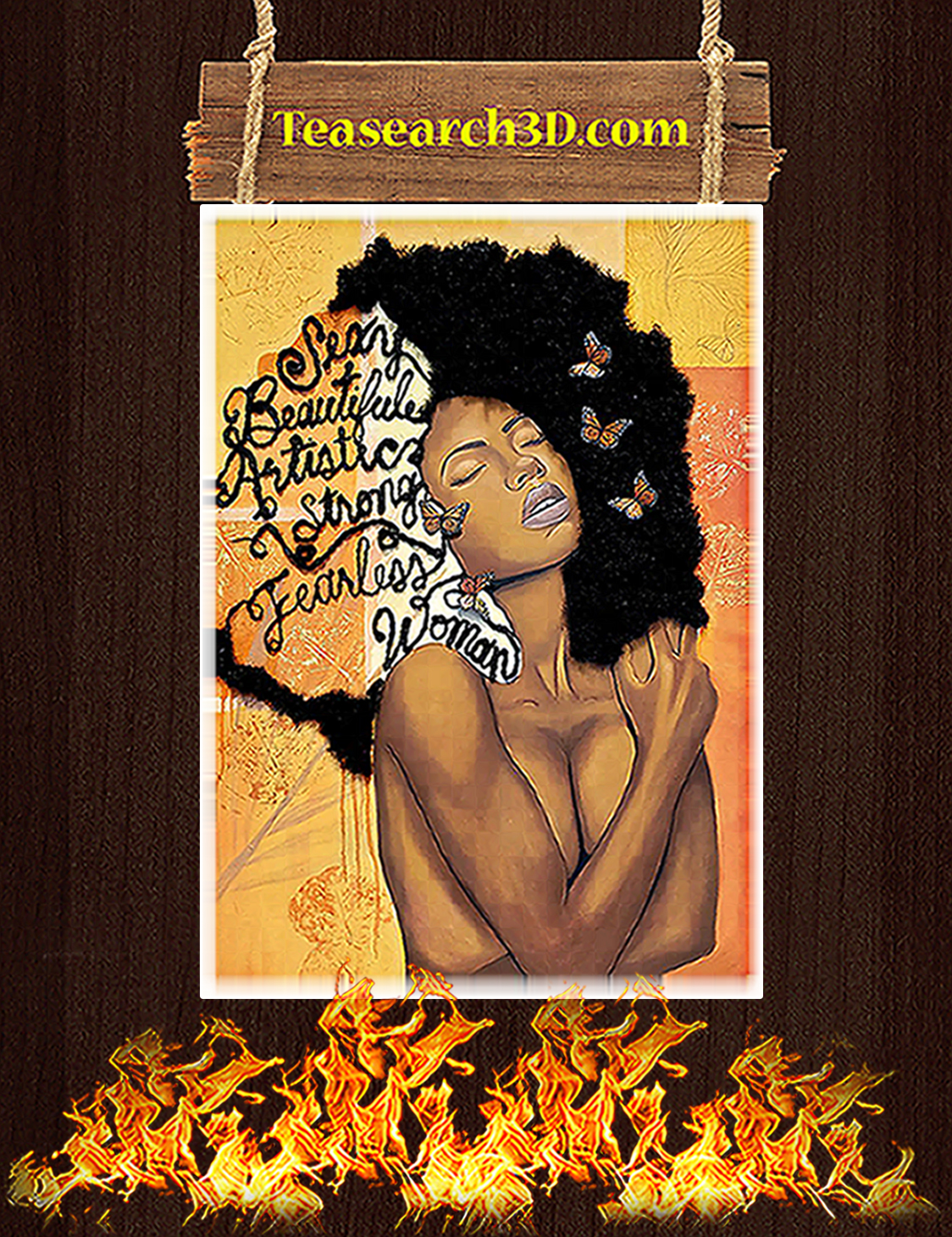 Black women sexy beautiful artistic strong fearless poster A3