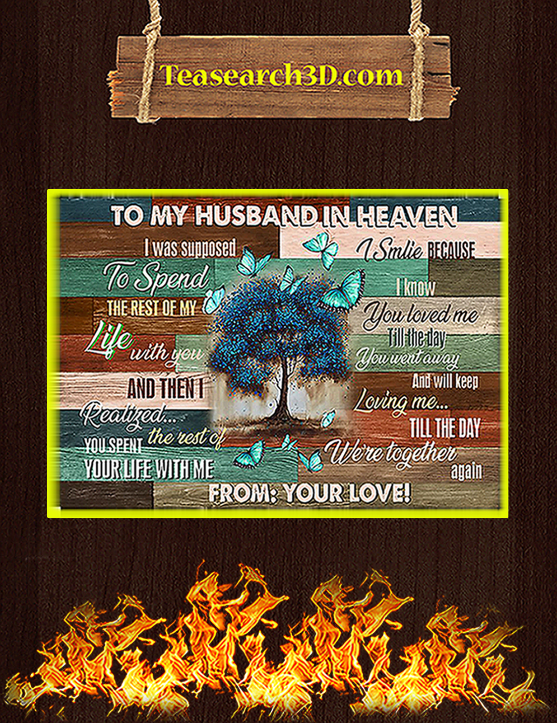 Butterfly To my husband in heaven poster A3