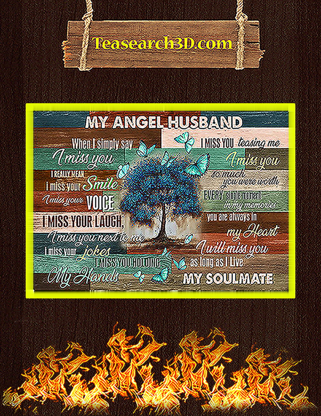 Butterfly my angel husband poster A1