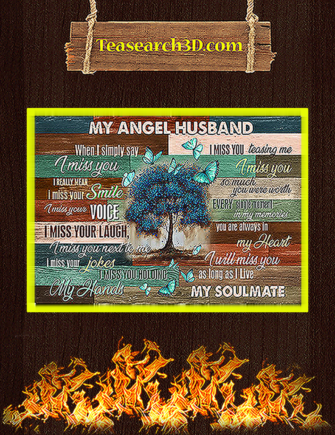 Butterfly my angel husband poster A2