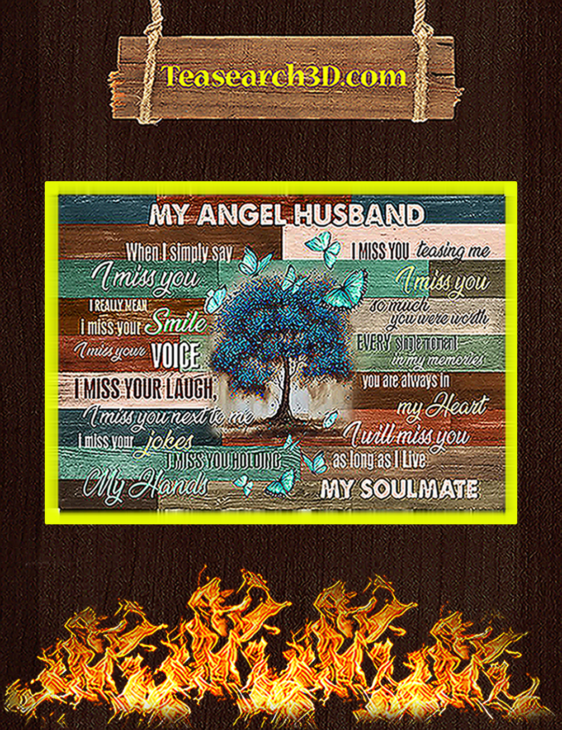 Butterfly my angel husband poster A3
