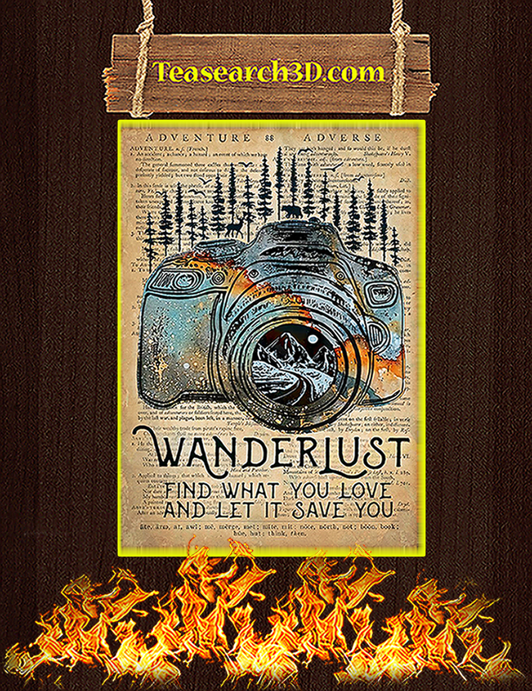 Camera Wanderlust find what you love poster A1