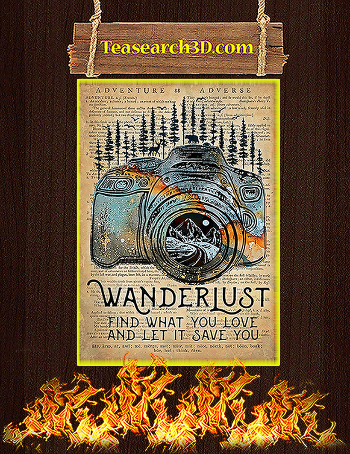 Camera Wanderlust find what you love poster A3