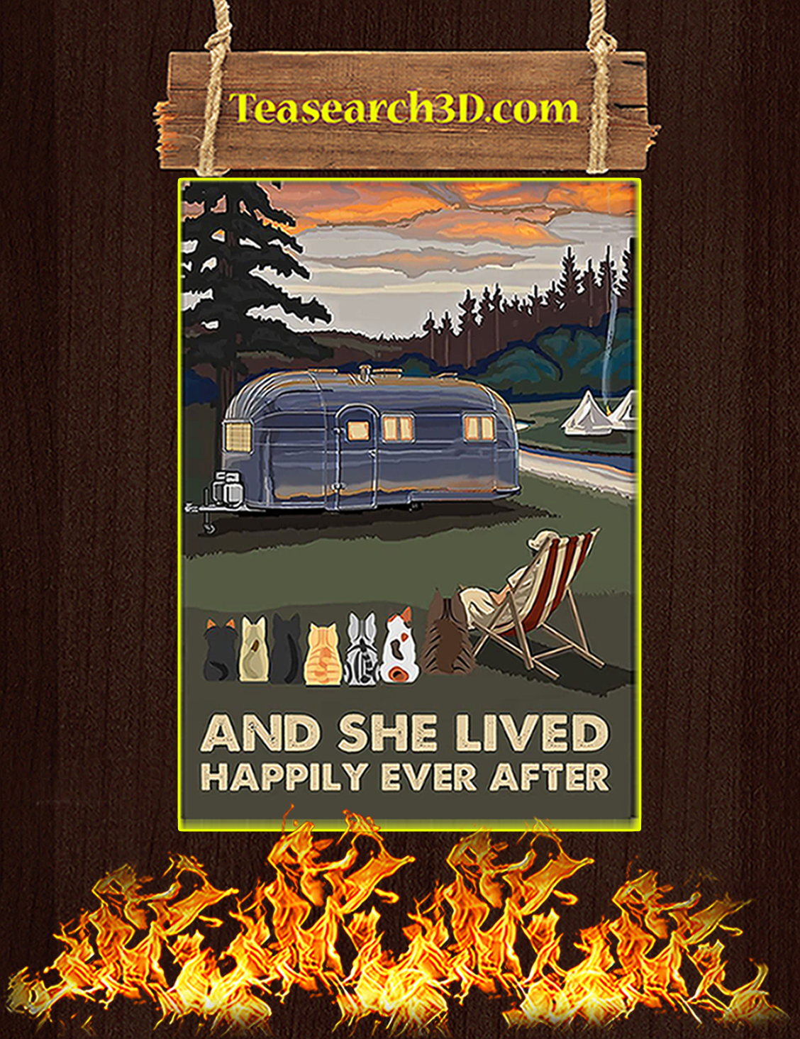 Camping cats and she lived happily ever after poster A3