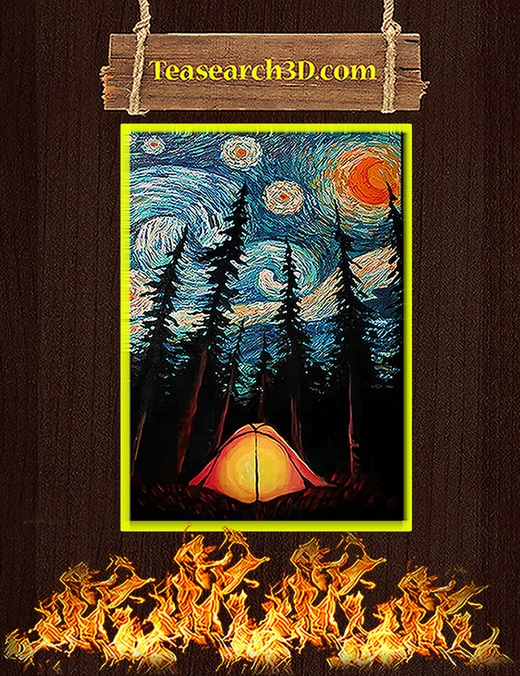 Camping starry night van gogh poster A1