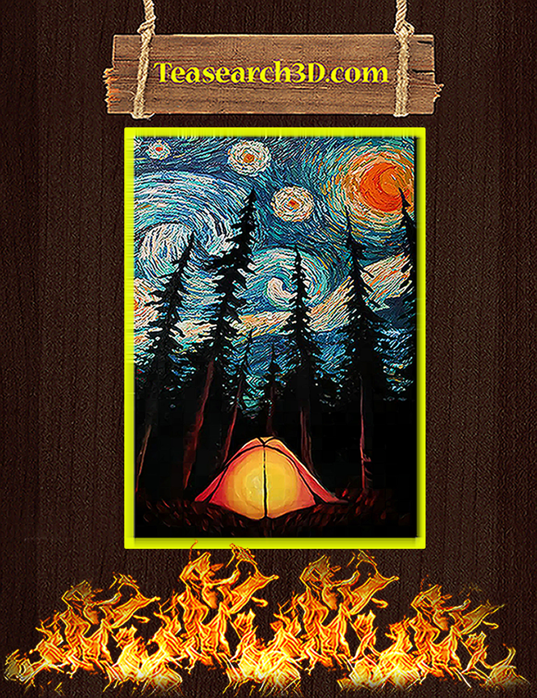 Camping starry night van gogh poster A2