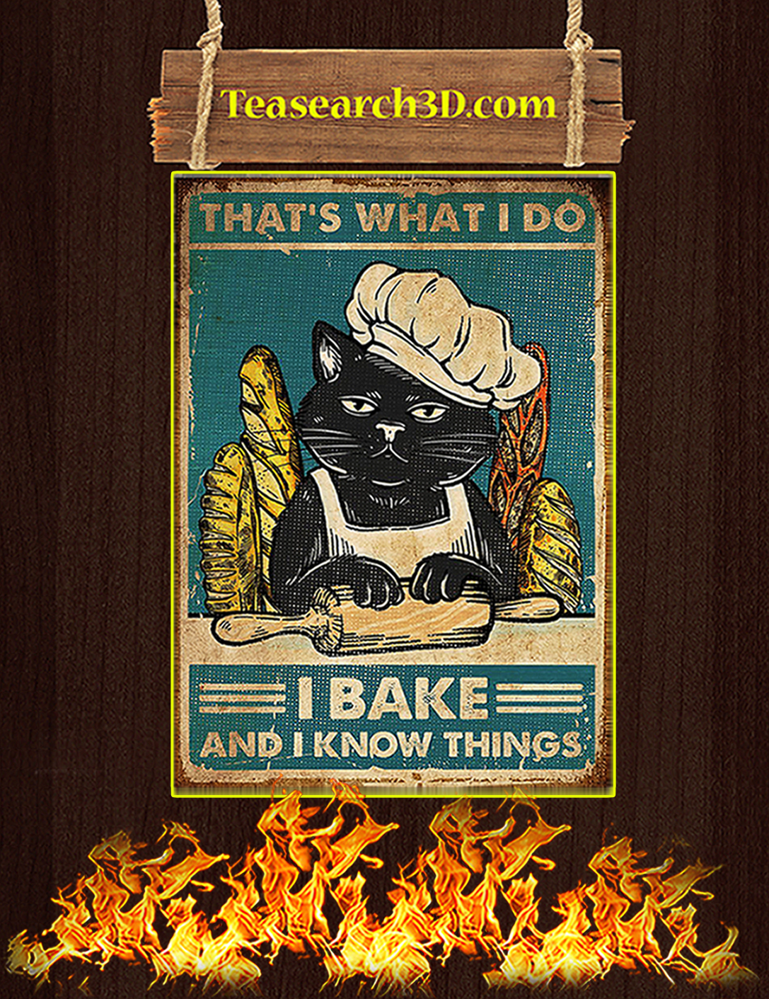 Cat That's what I do I bake and I know things poster A2