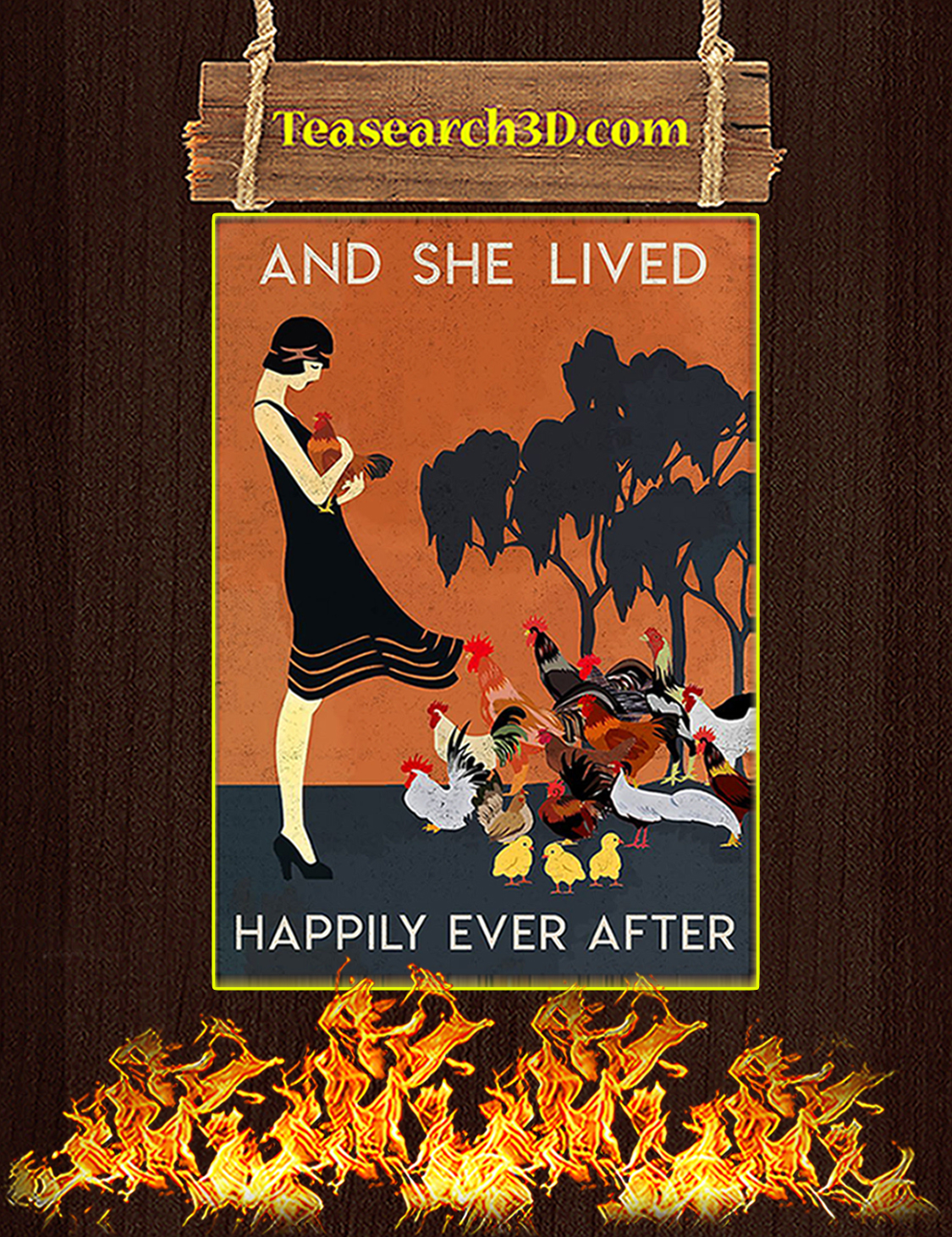 Chicken And she lived happily ever after poster A3