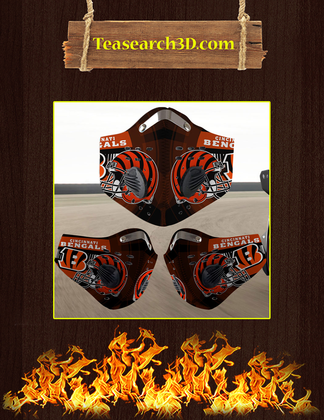 Cincinnati Bengals filter face mask pack 3