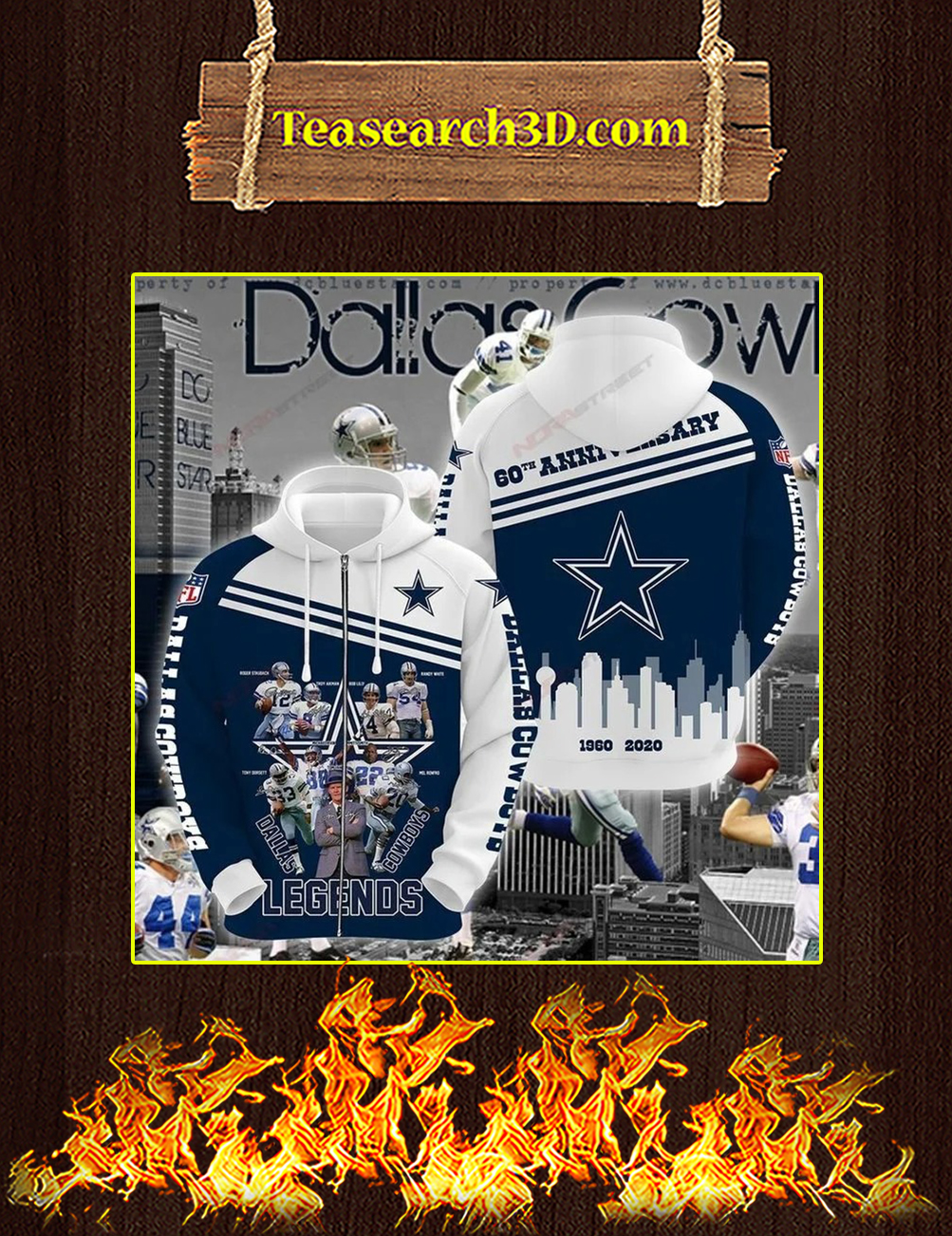 Dallas cowboys legends 60th anniversary 3D All over print zip hoodie