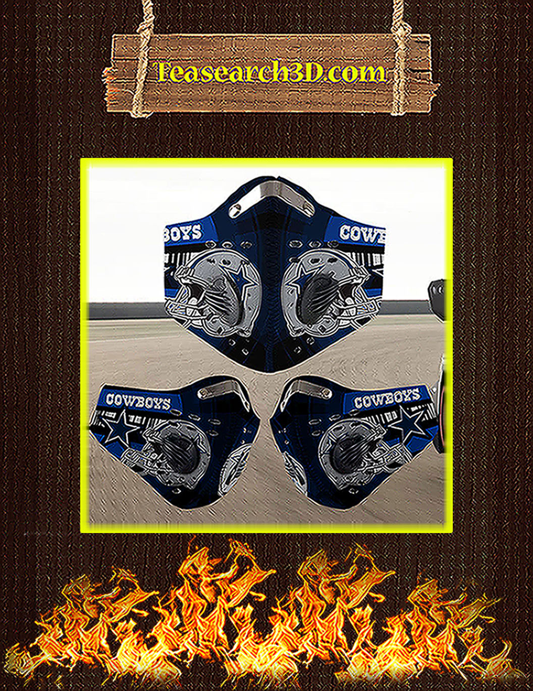 Dallas Cowboys filter face mask pack 3
