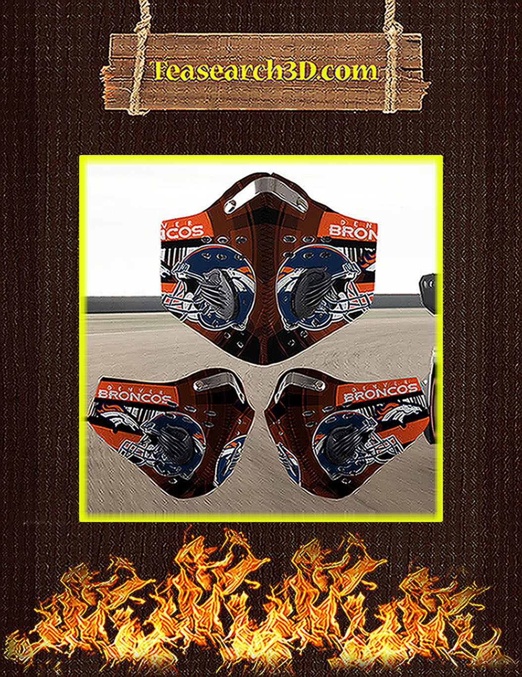 Denver Broncos filter face mask pack 3