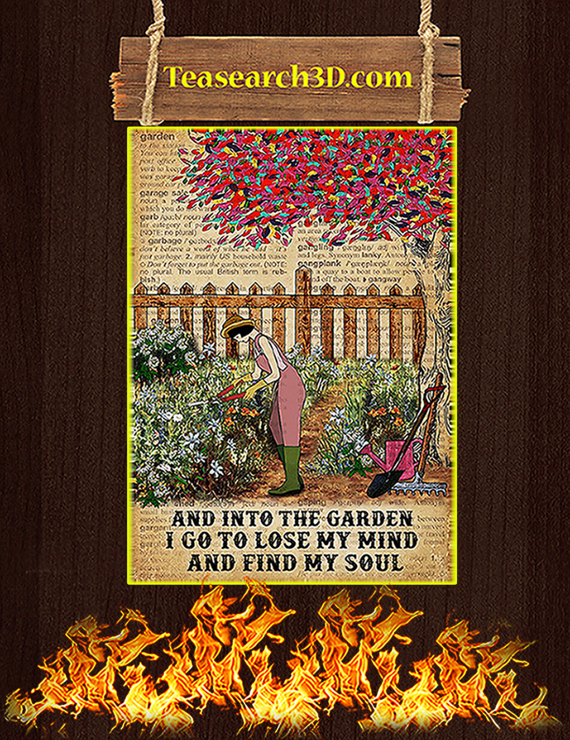 Dictionary And into the garden I go to lose my mind and find my soul poster A3