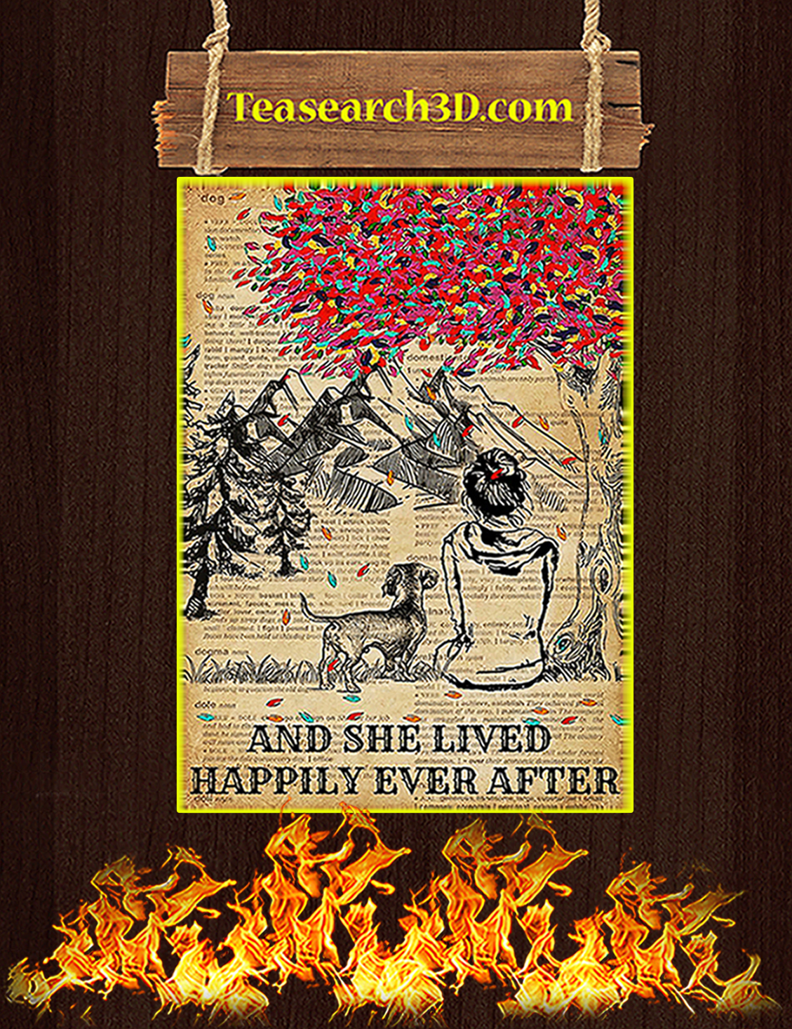 Dictionary dachshund and she lived happily ever after poster A3