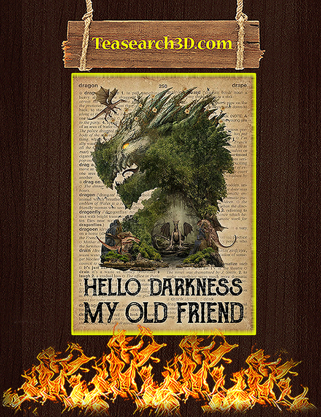 Dictionary dragon hello darkness my old friend poster A1