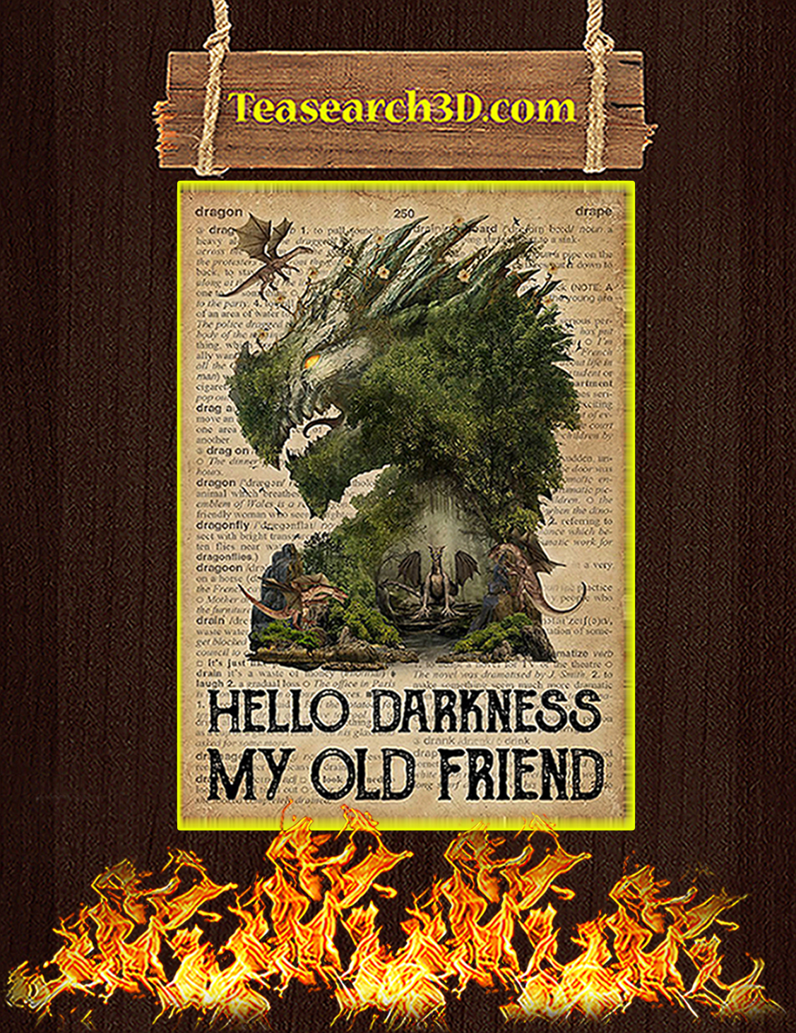 Dictionary dragon hello darkness my old friend poster A3