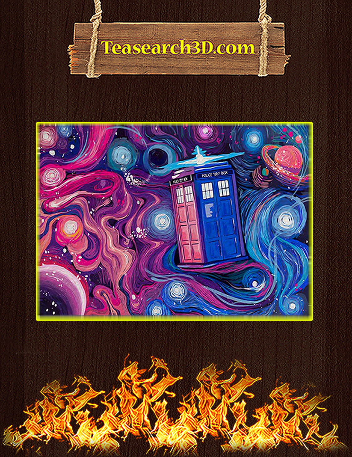 Doctor who tardis universe starry night poster A3