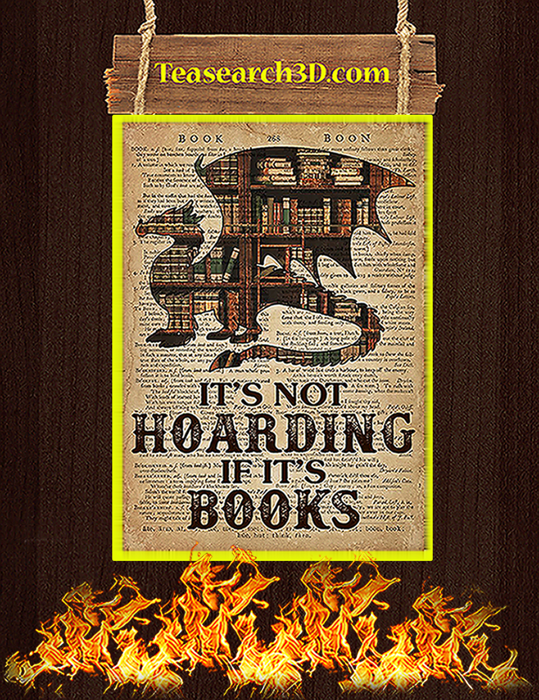 Dragon It's not hoarding If it's books poster A2