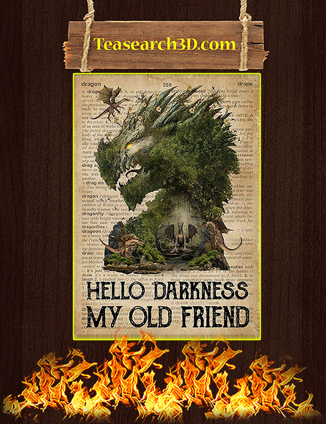 Dragon hello darkness my old friend poster A3