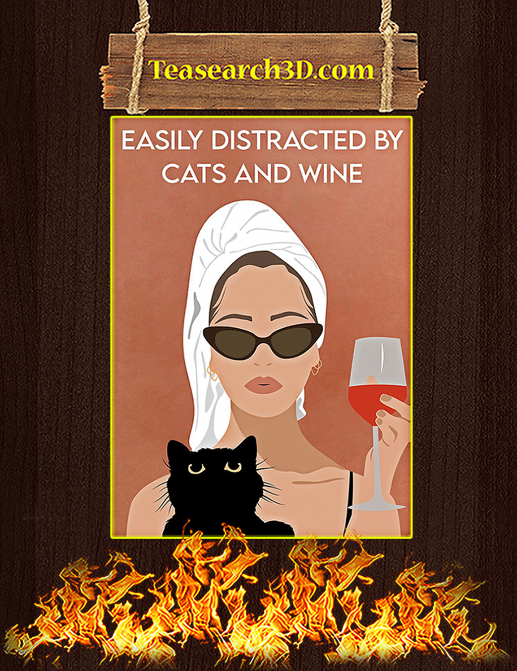 Easily distracted by cats and wine poster A1