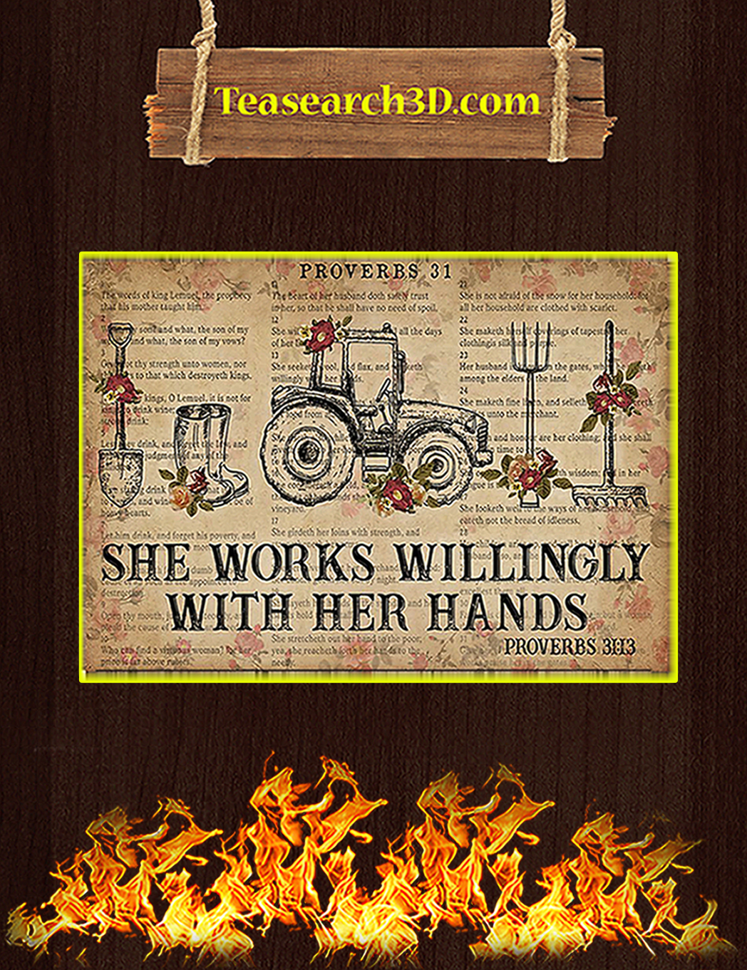 Farmer She works willingly with her hands poster A1