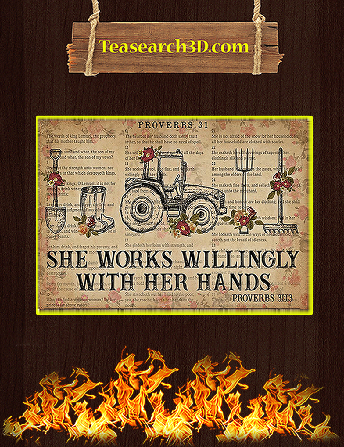 Farmer She works willingly with her hands poster A3