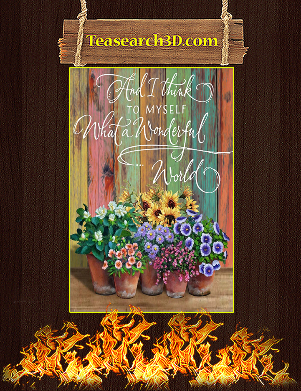 Flower what a wonderful world canvas prints small
