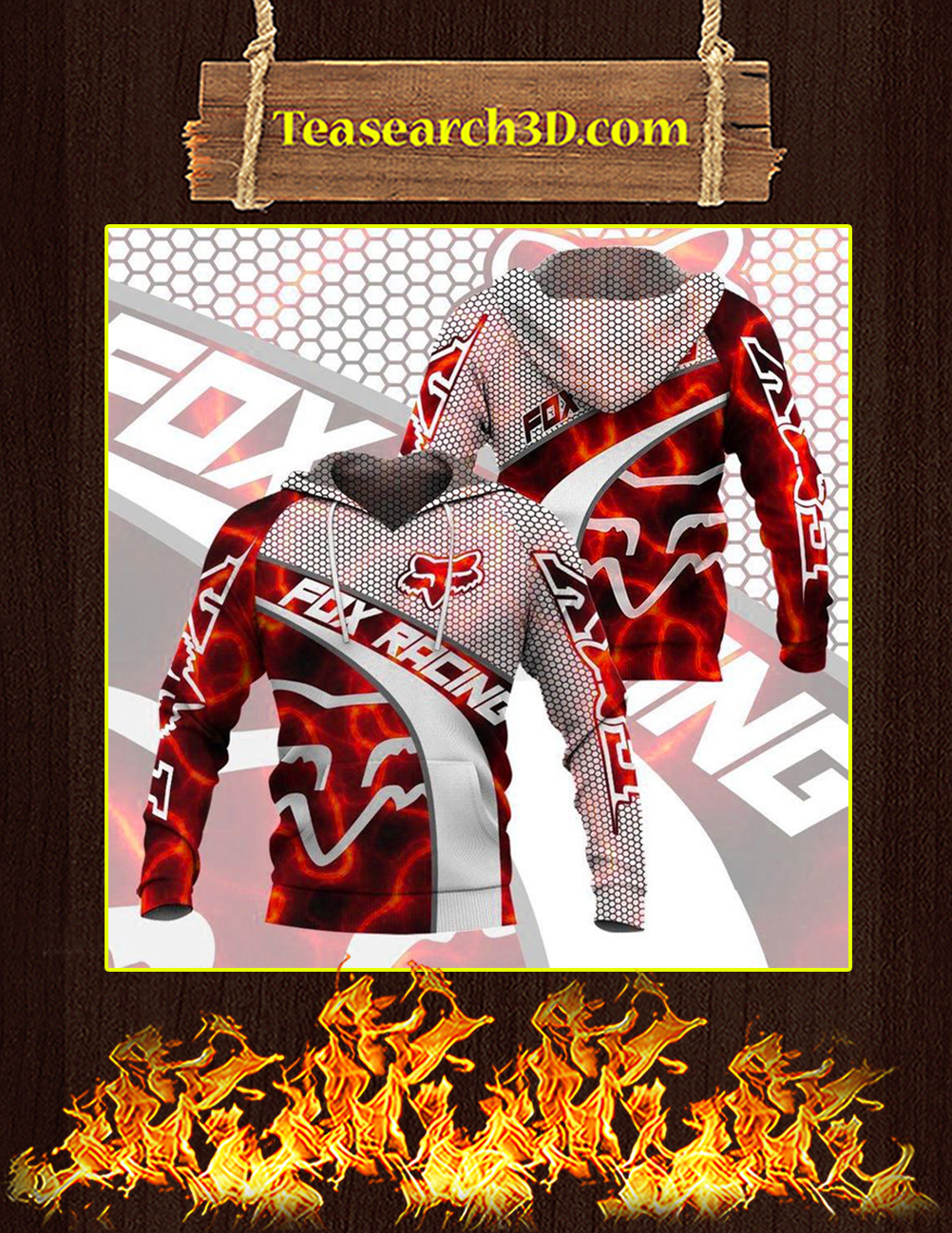 Fox racing red 3D All over print hoodie