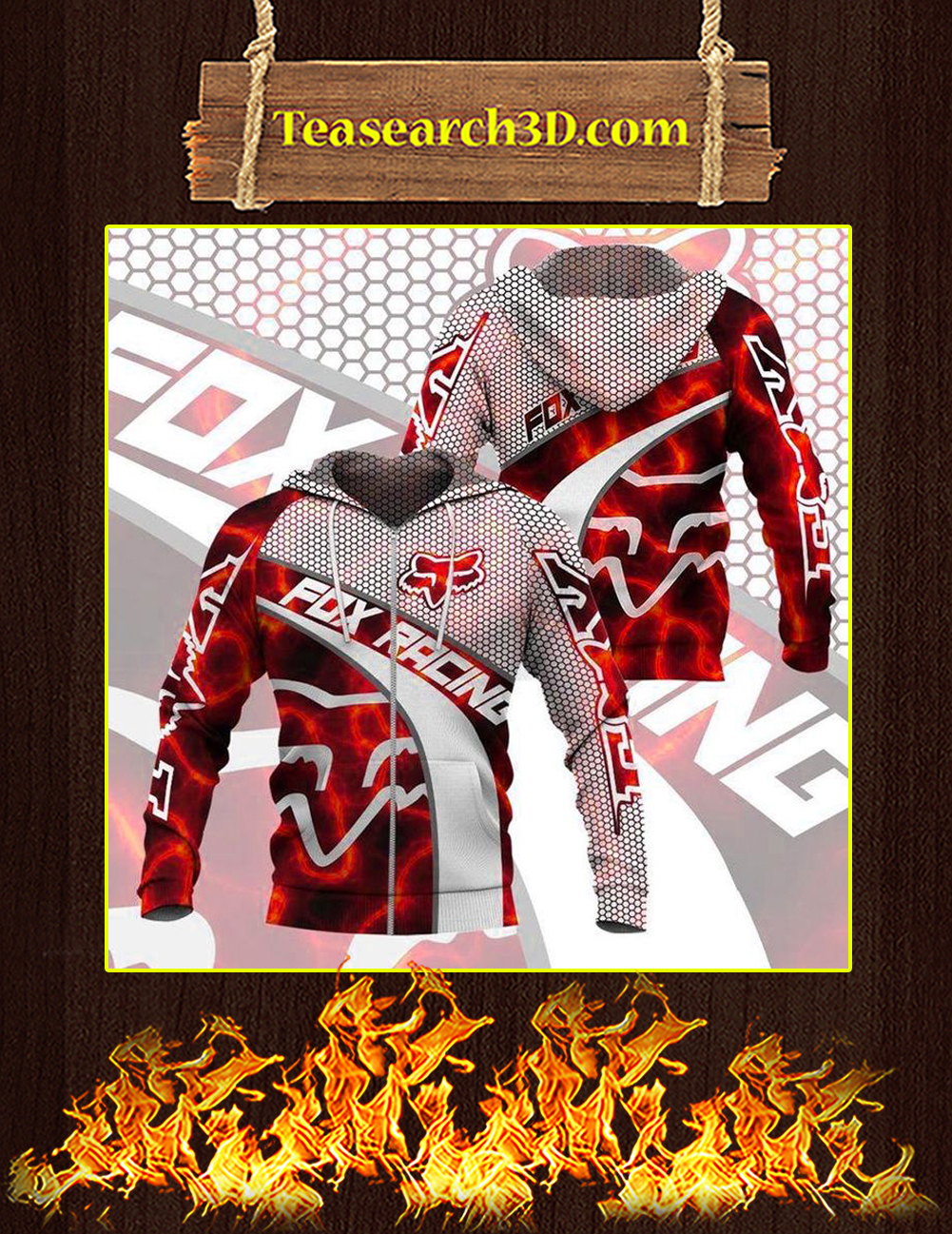 Fox racing red 3D All over print zip hoodie