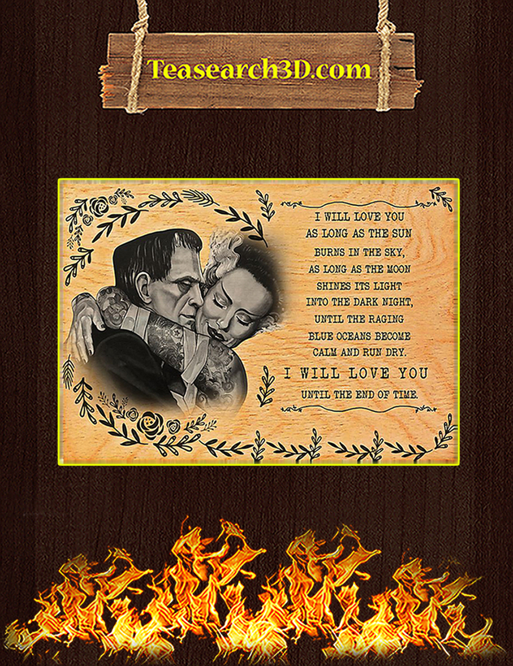 Frankenstein I will love you as long as the sun poster A1