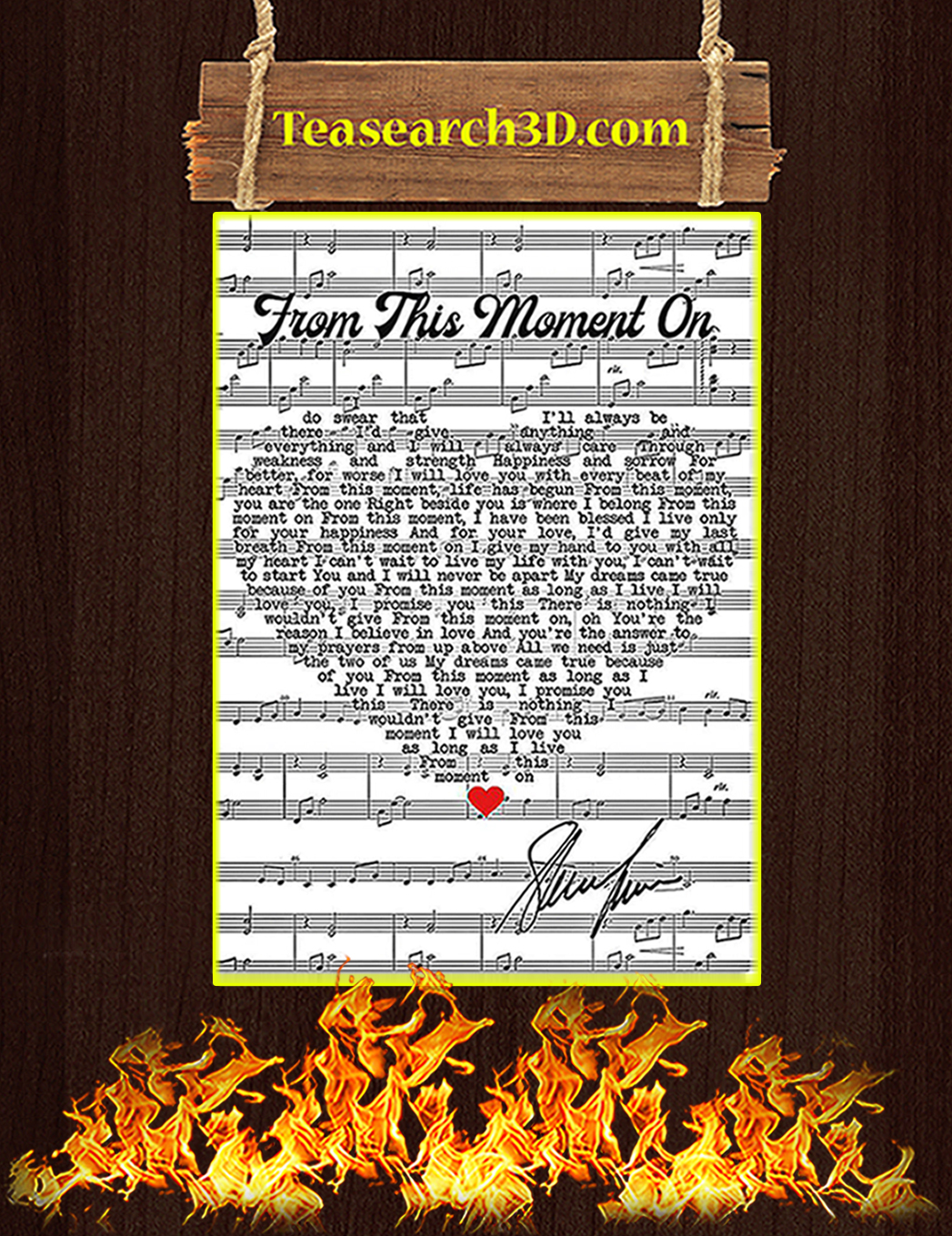 From this moment on shania signature poster A1