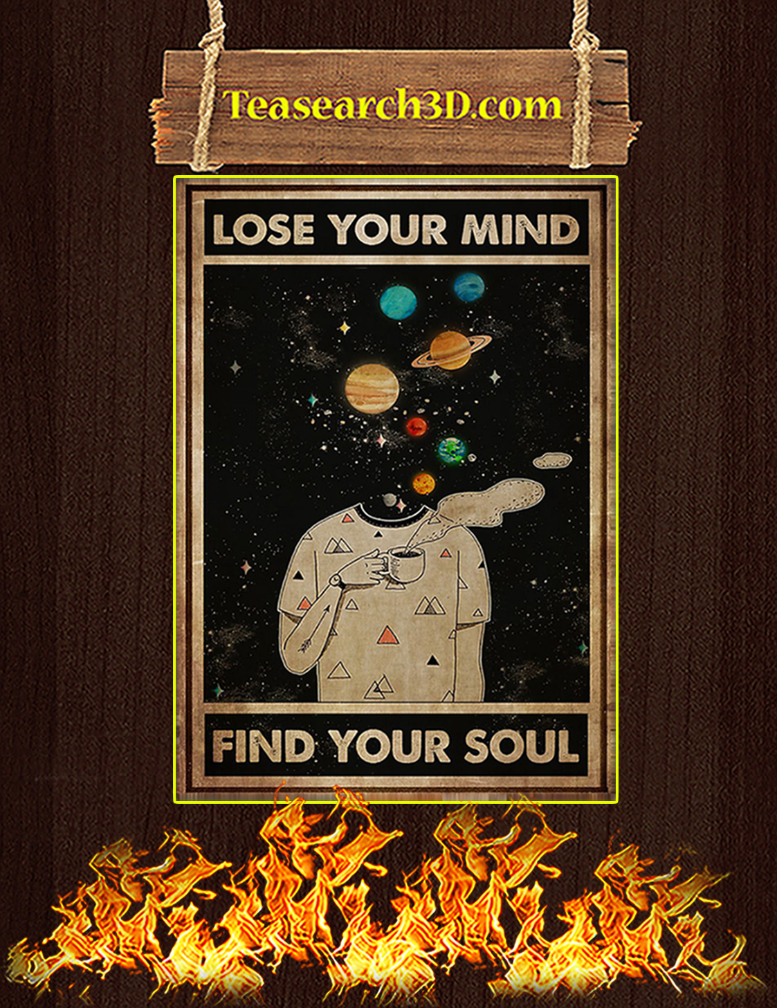 Galaxy Lose your mind find your soul poster A3