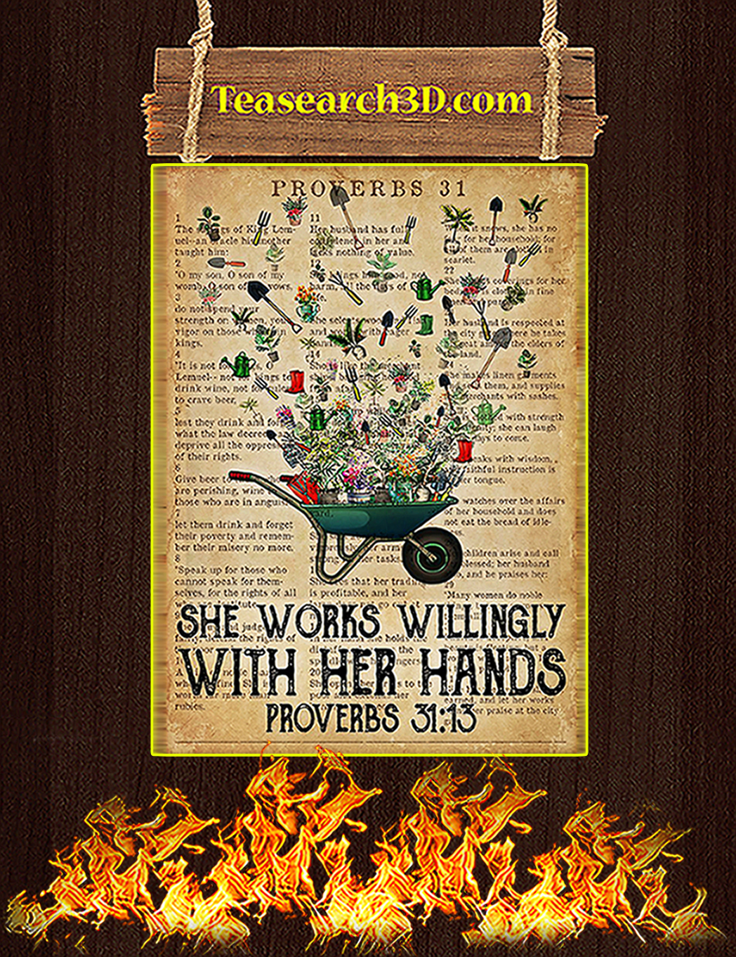 Garden She works willingly with her hands poster A1