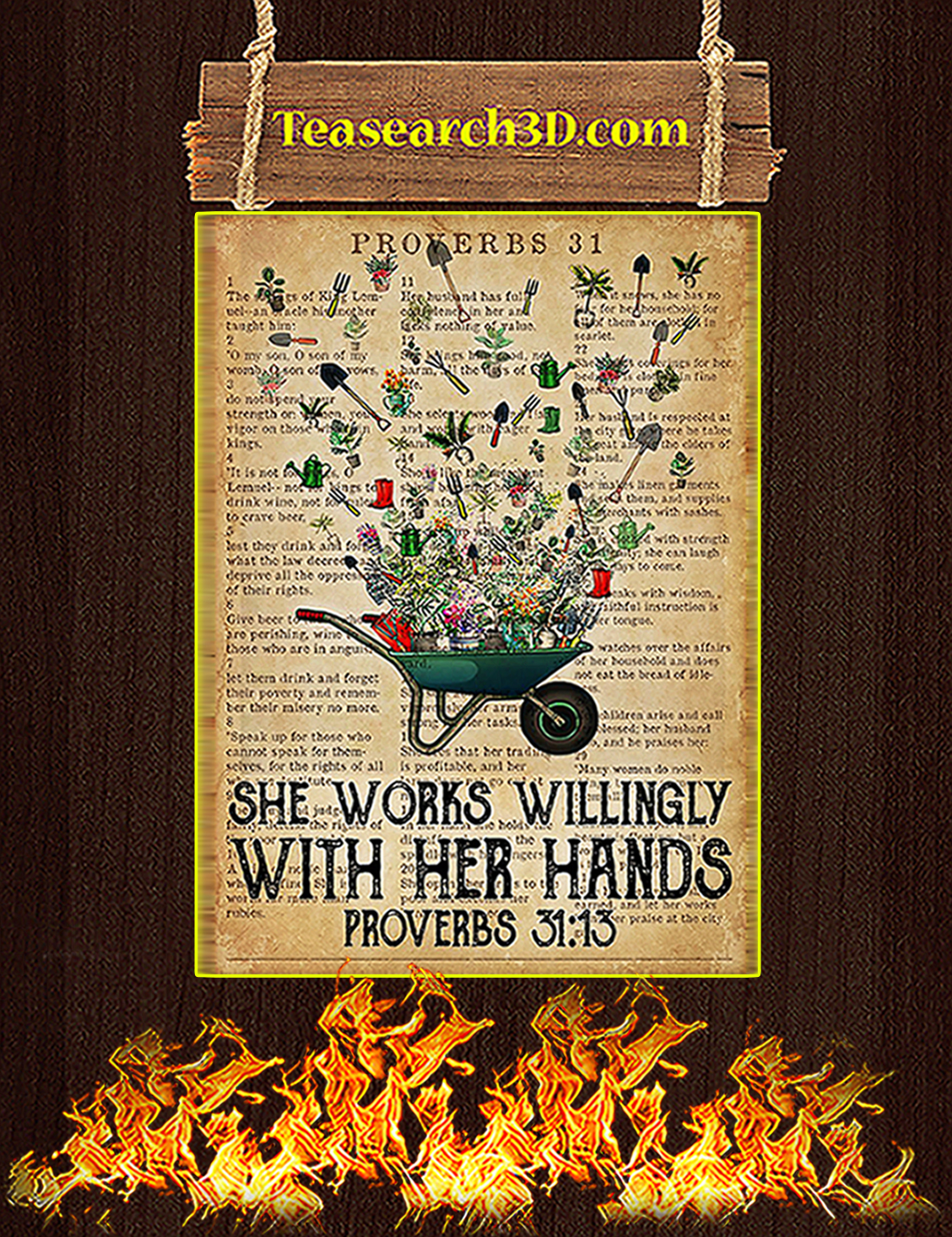 Garden She works willingly with her hands poster A3