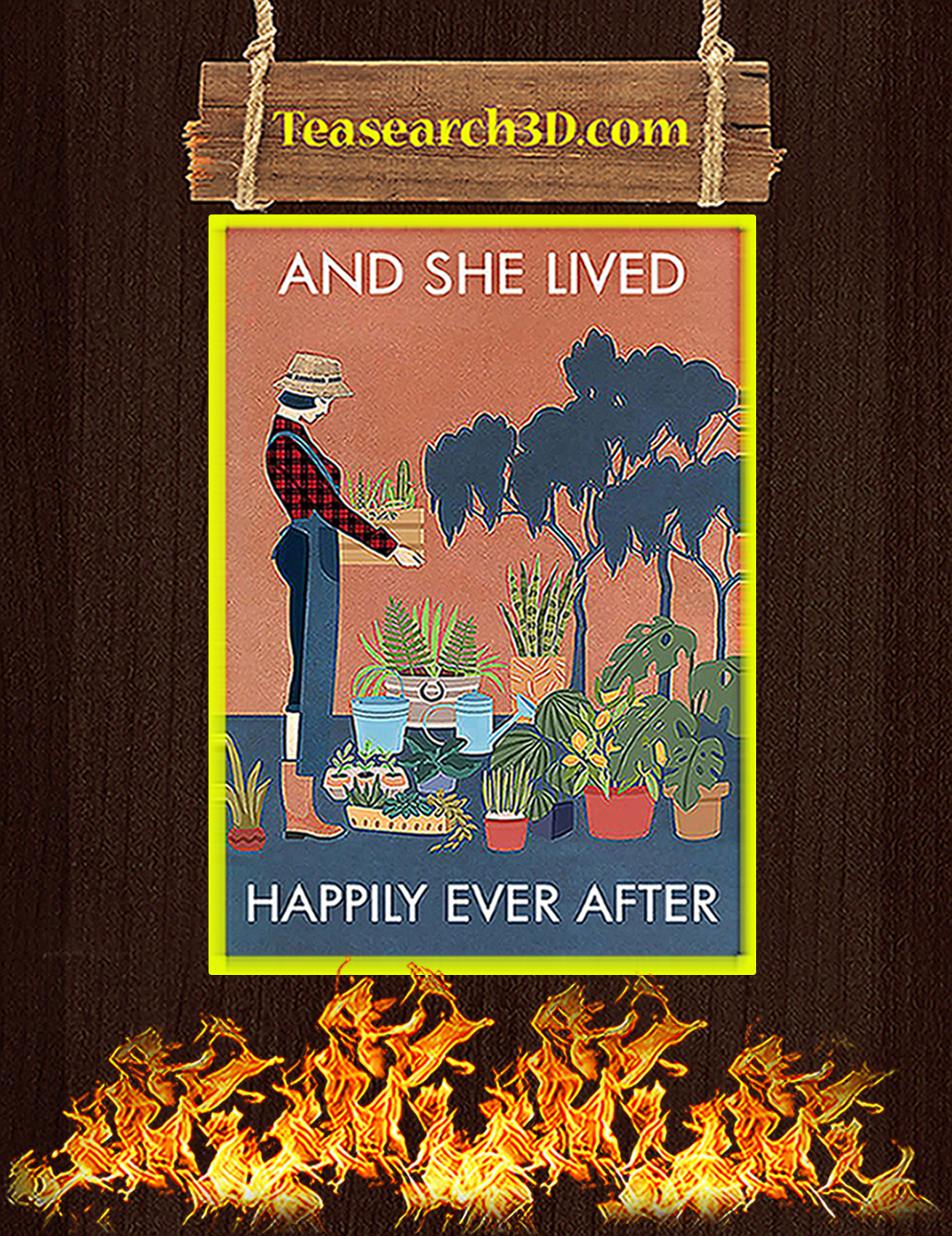 Gardening and she lived happily ever after poster A3