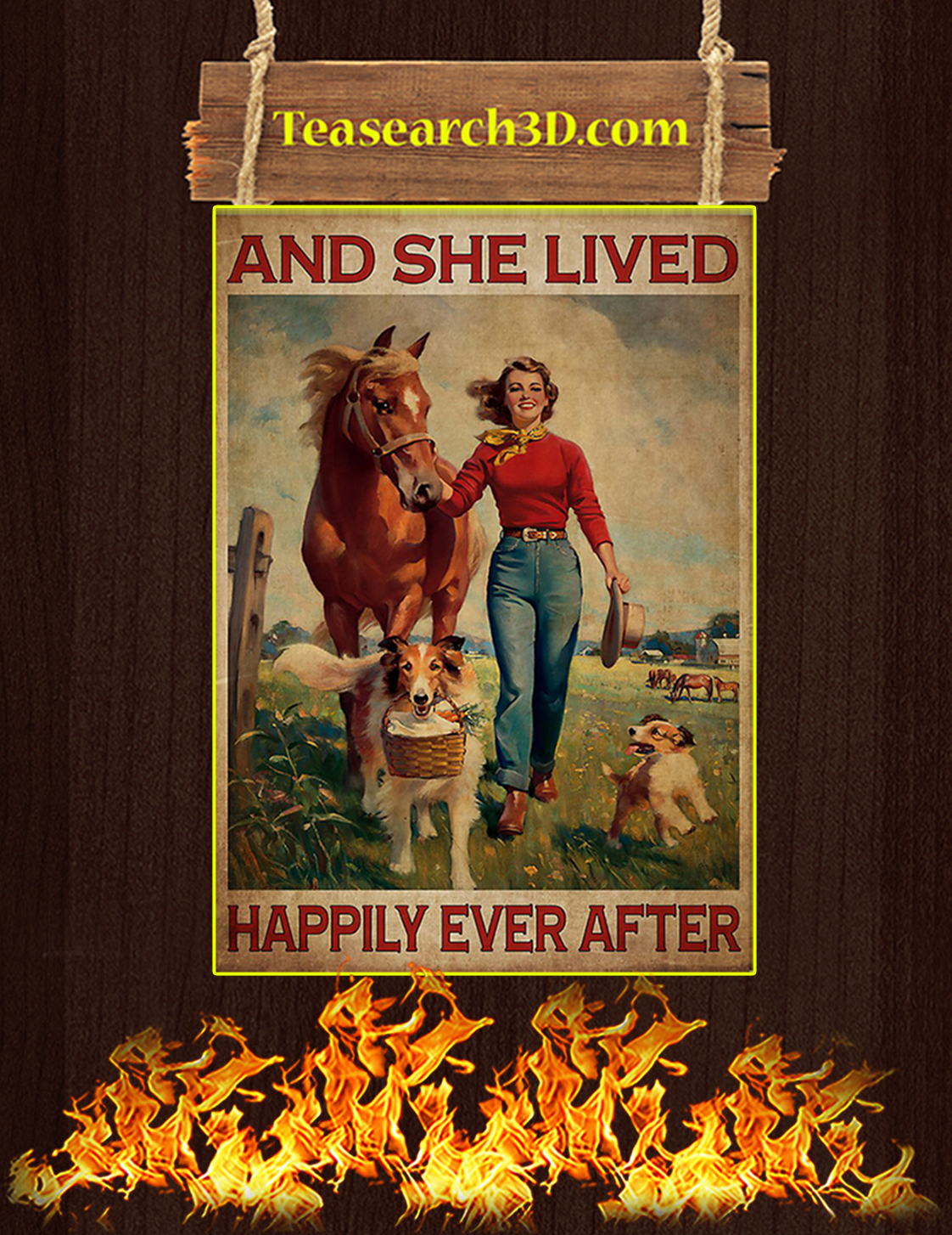 Girl with horse and dogs lived happily ever after poster A3