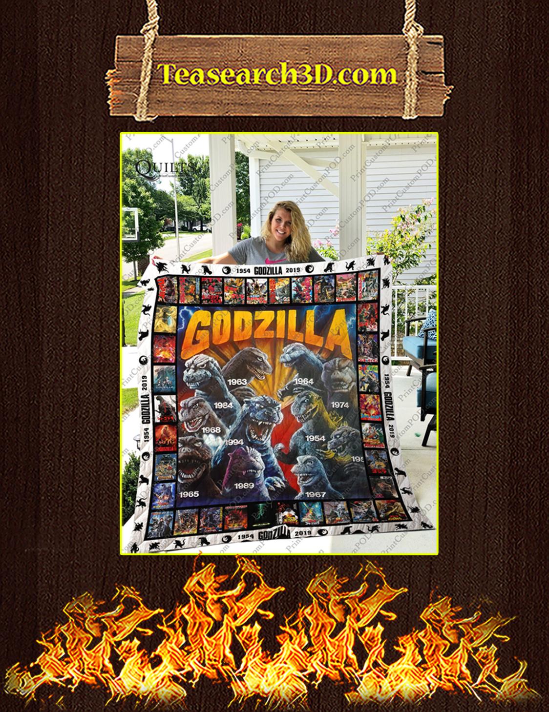 Godzilla quilt blanket queen