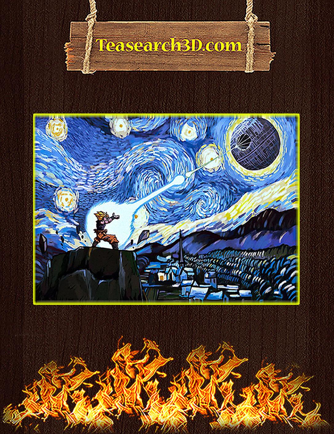 Goku vs Death Star starry night van gogh poster A2