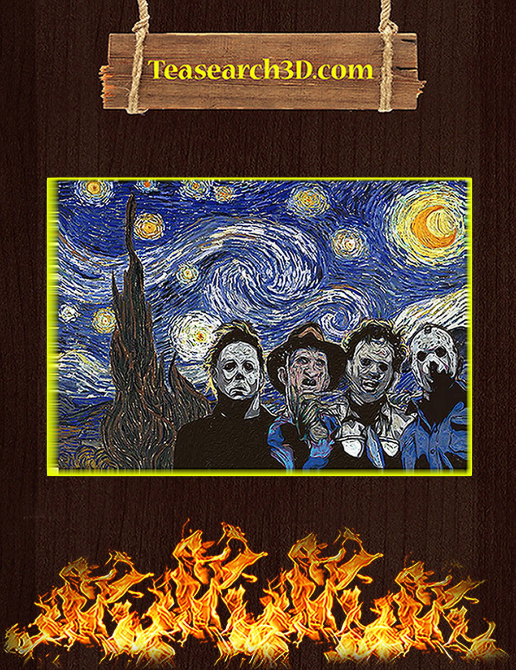 Horror movies killer starry night van gogh poster A1