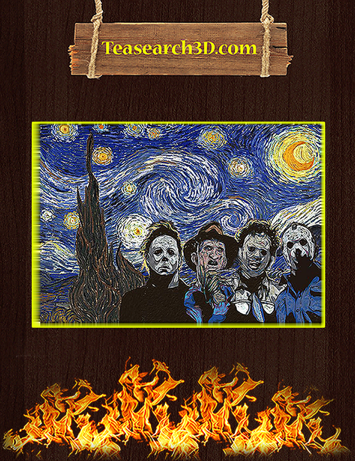 Horror movies killer starry night van gogh poster A3