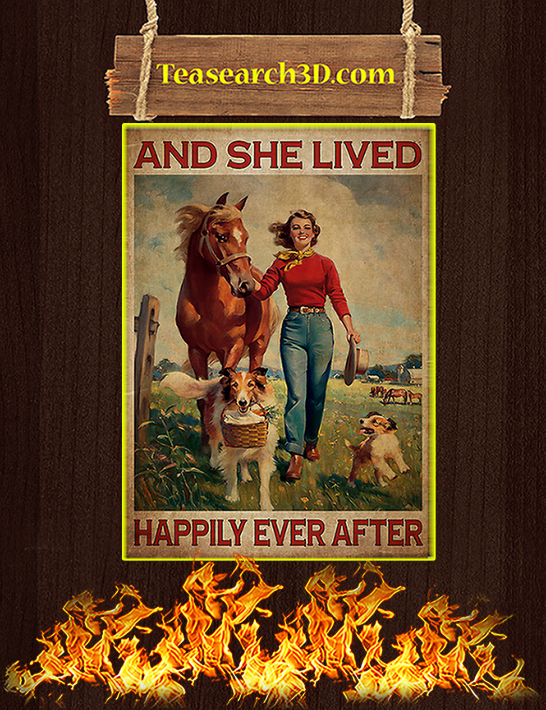 Horse and dog And she lived happily ever after poster A3