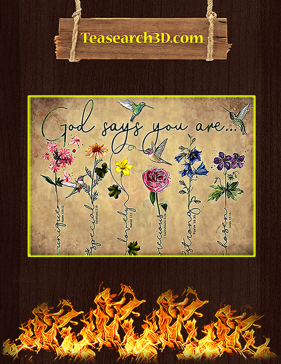 Hummingbird flower God says you are poster A3