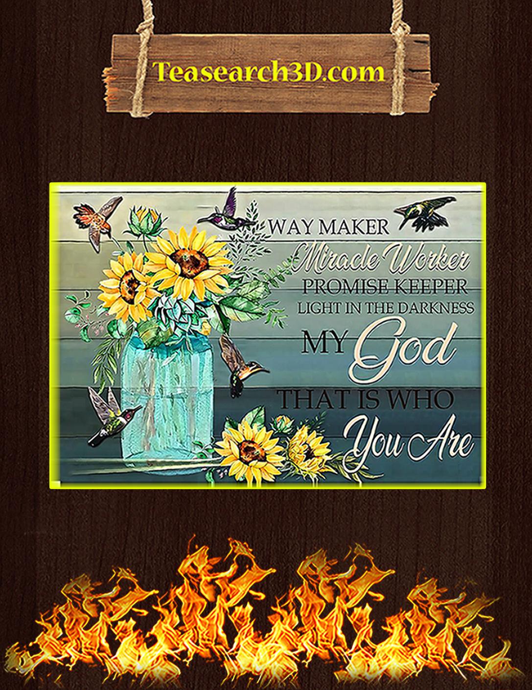 Hummingbird sunflower way maker miracle worker poster A2