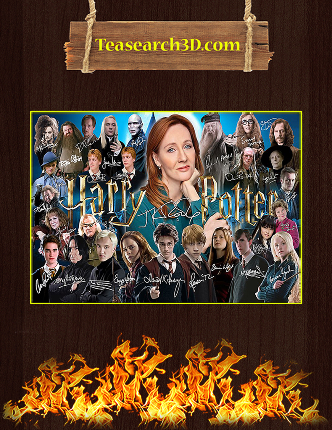 J K Rowling harry potter signature poster A3