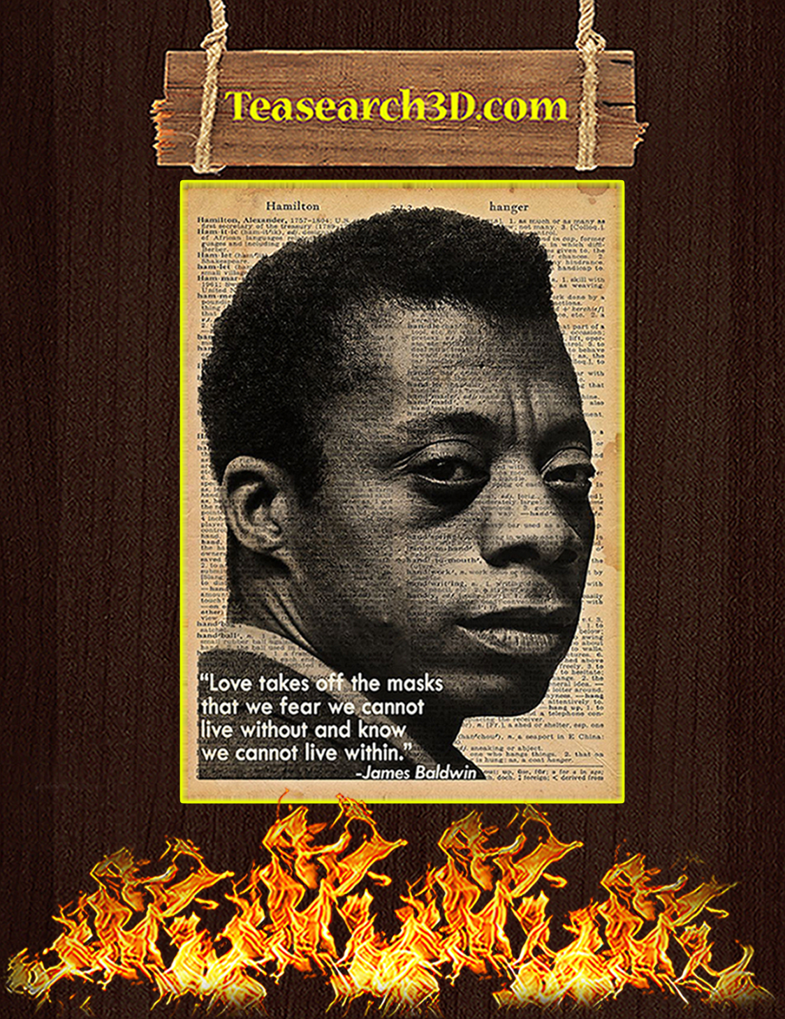 James Baldwin Love takes off the masks poster A3