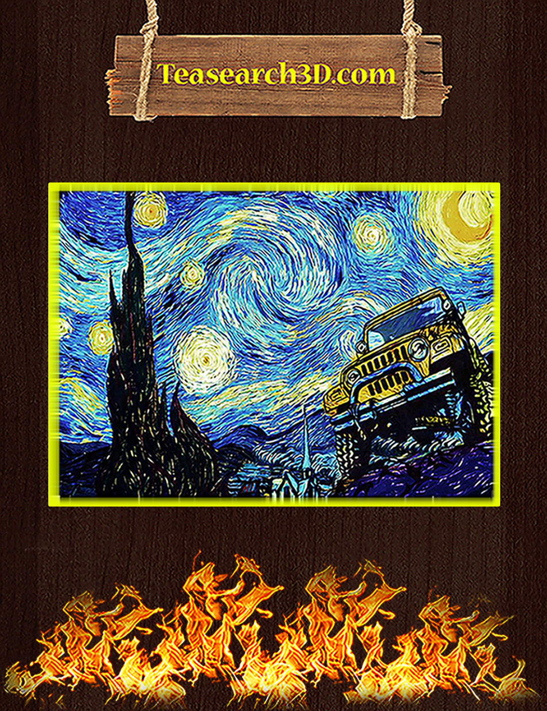 Jeep starry night van gogh poster A3